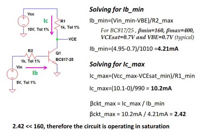 Example for Transistor Operation Mode using beta