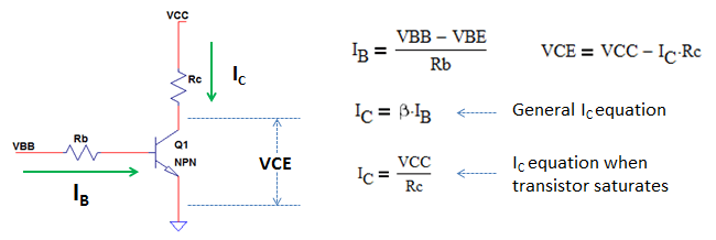 derive equation for NPN transistor