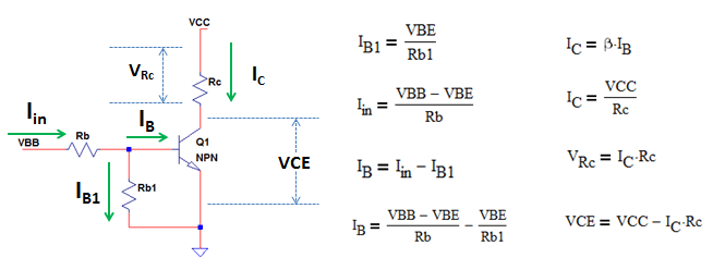 derive equations for NPN transistor without emitter resistor