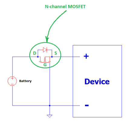 mosfet reverse battery protection