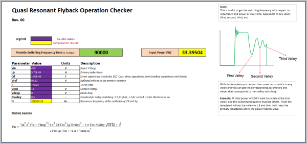 Quasi Resonant Flyback Operation Checker and Design Tool