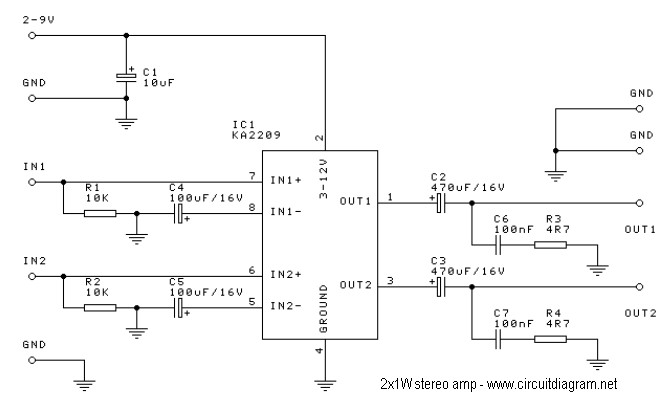 1w stereo headphone amplifier based tda2822 electronic schematic