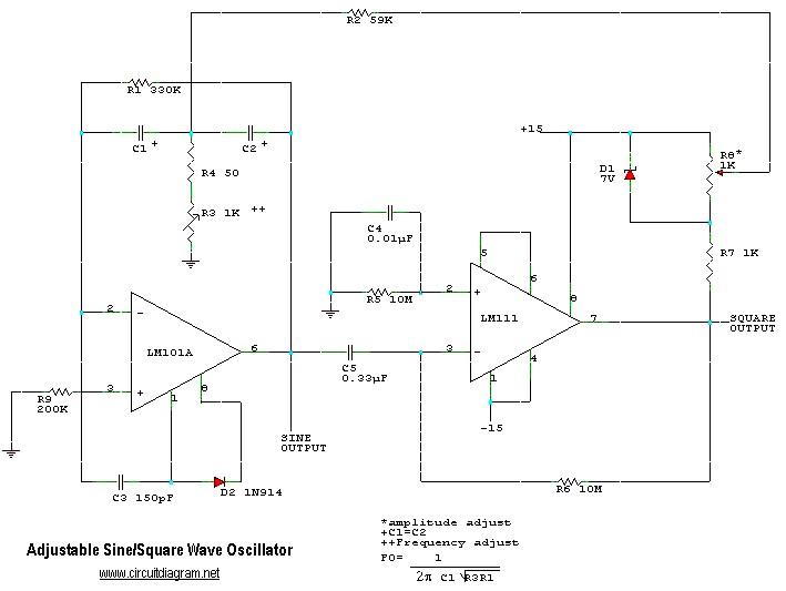 sine wave to square wave converter electronic schematic diagramadjustable sine square wave oscillator