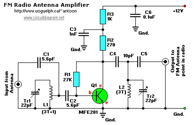 active fm booster electronic schematic diagramfm receiver antenna amplifier