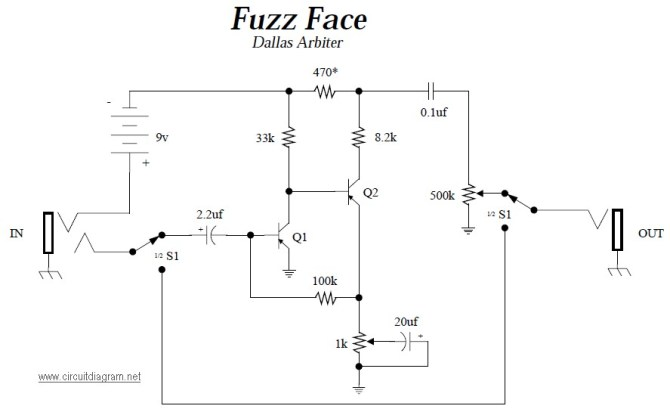 dallas arbiter fuzz face  electronic schematic diagram