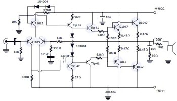 120W Power Amplifier + Power Supply | Electronic Schematic Diagram