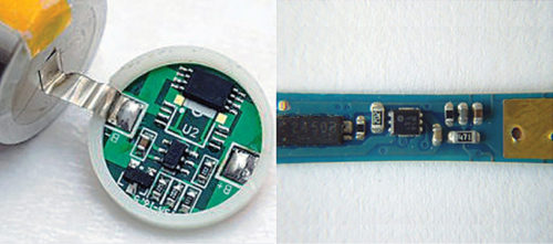 Protection board inside 18650 lithium-ion cell (left) and Nokia BL-5Cx battery (right)