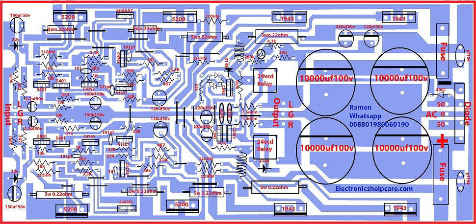 transistor circuit diagram of 2sa1943 and 2sc5200  Electronics Help Care