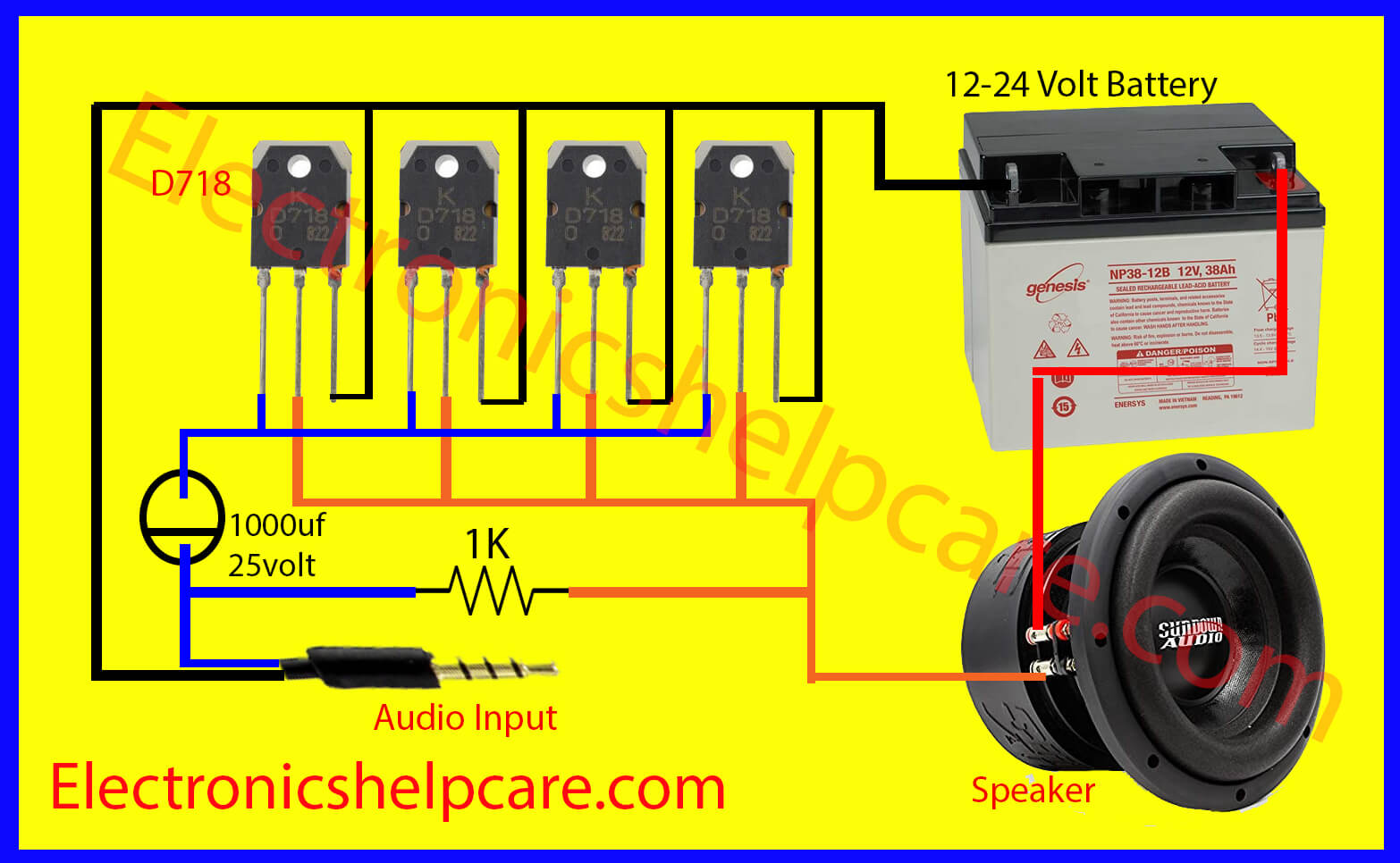 Amazing Easy Amplifier Circuit Diagram Using D718 Only Electronics Help Care Wiring Cloud Brecesaoduqqnet