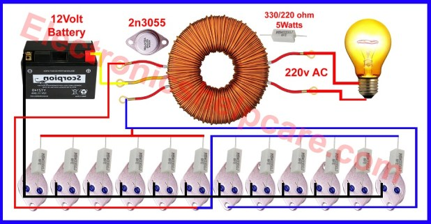 How To Make Inverter unlimited Watt 2n3055 Transistor
