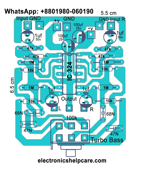 How to make turbo bass for amplifier circuit diagram?