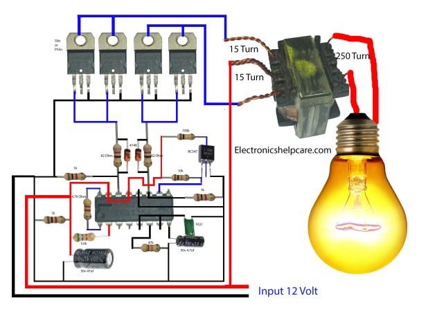 how to make an inverter using 12v to 220v. electronics