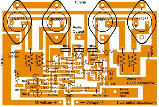2n3055 amplifier circuit diagram 200 watts.