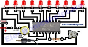 led music level indicator circuit diagram