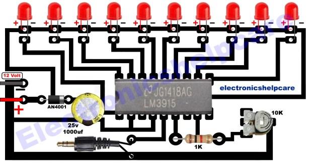 led music level indicator circuit diagram
