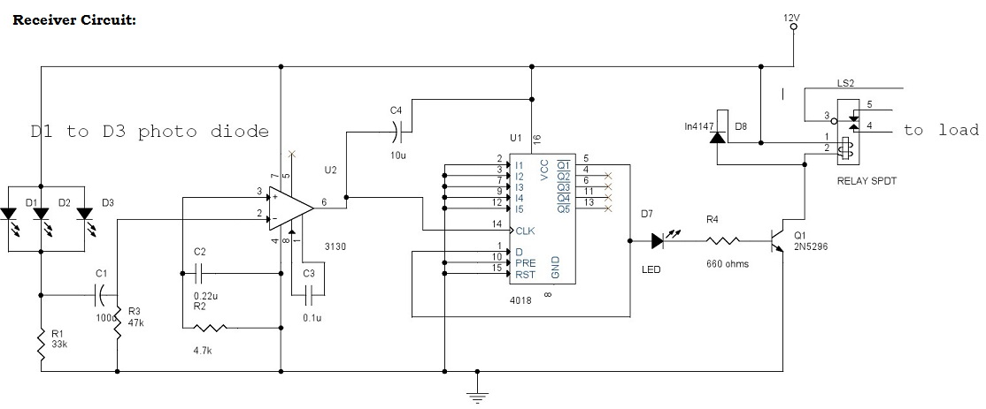 IR (Infrared) Remote Control Switch Circuit And Applications