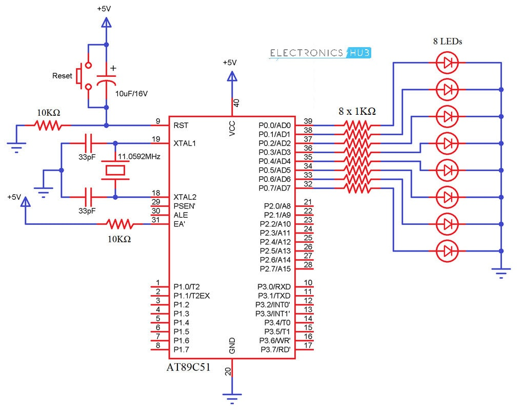 Interfacing LED With 8051 Microcontroller Circuit