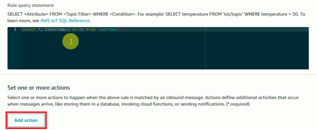add-action for amazon-dynamodb-rule