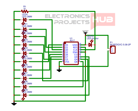 led chaser circuit using 4017