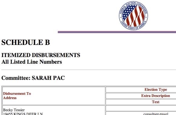 Sarah PAC FEC Filing