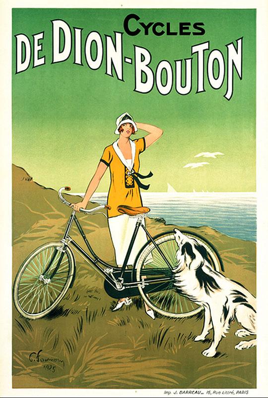 девушка собака и велосипед постер реклама ретро