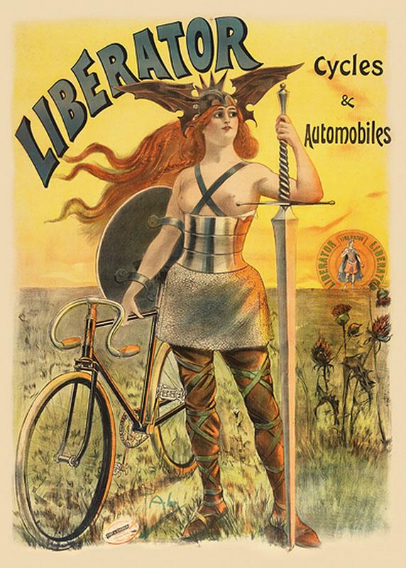 постер воительница велосипед ретро реклама