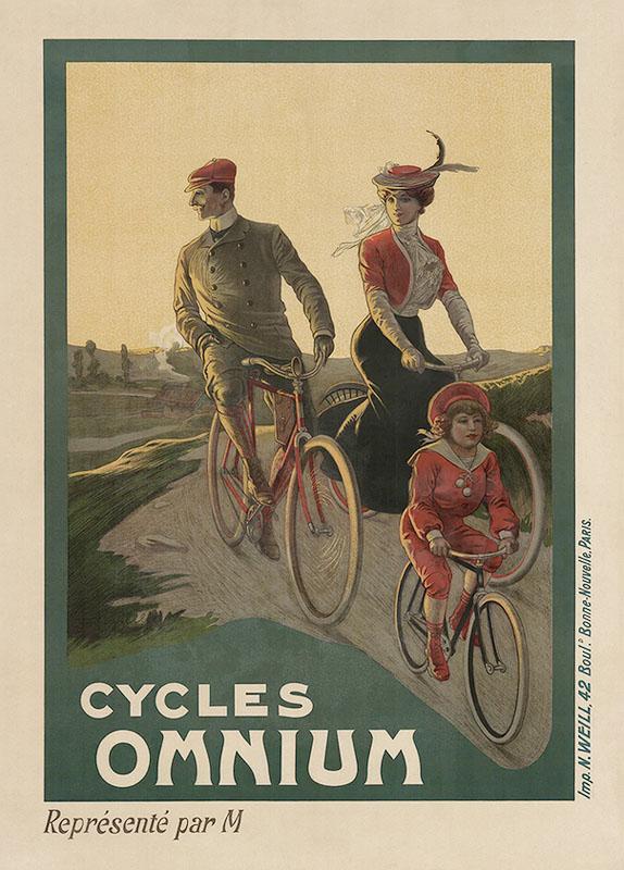 семья велосипед постер ретро