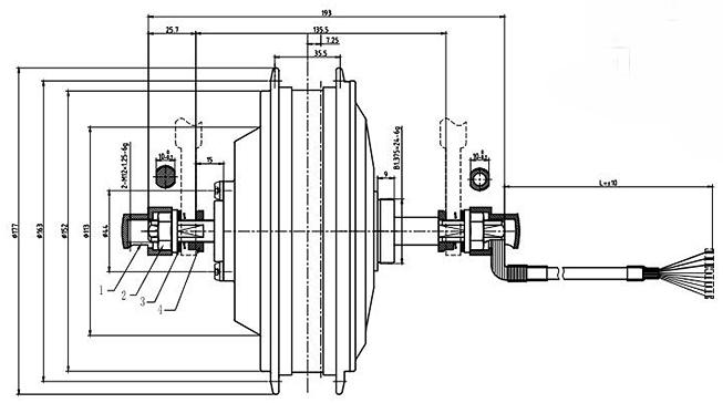 Мотор-колесо MXUS MX01R чертеж
