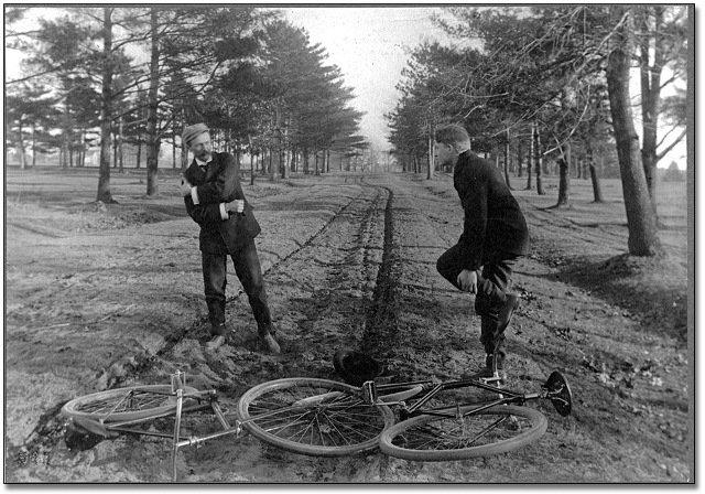 ретрофотогрфия столкновение велосипедистов