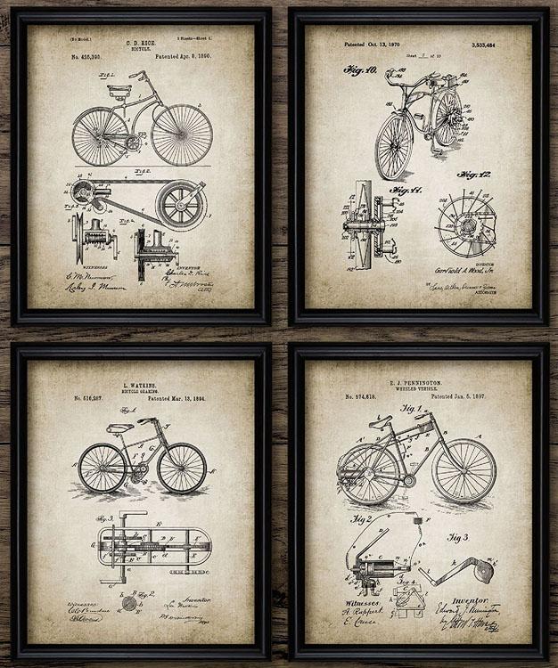 Постеры. Чертежи из старинных патентов велосипед