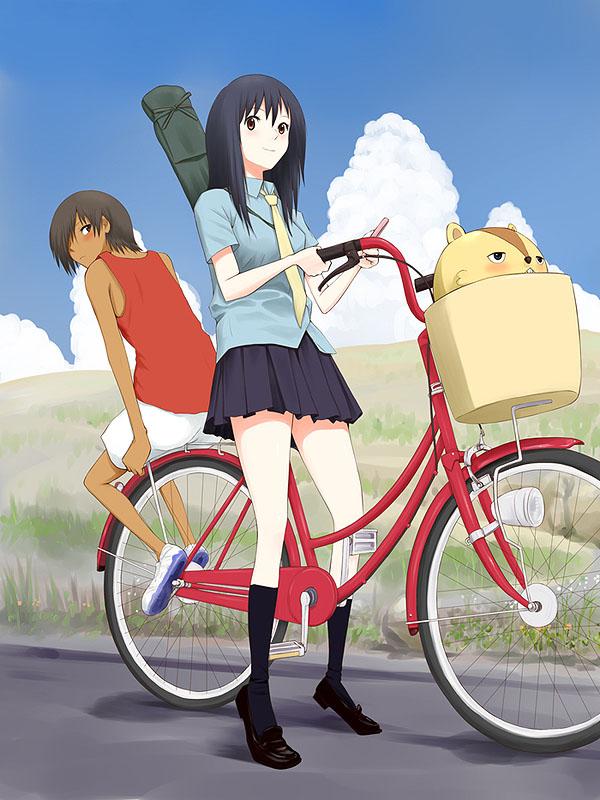 девушка на велосипеде аниме