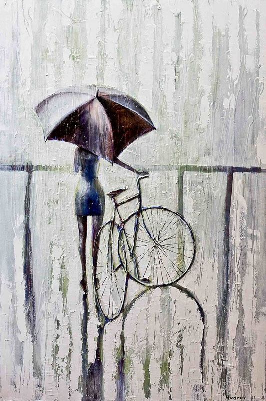 Художник Игорь Мудров девушка велосипед дождь