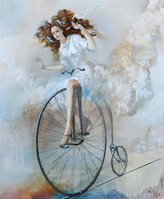 девушка живопись велосипед