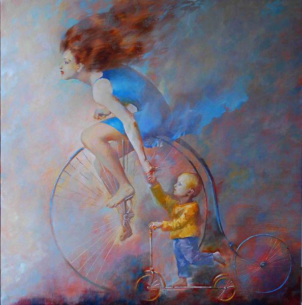 живопись велосипед самокат