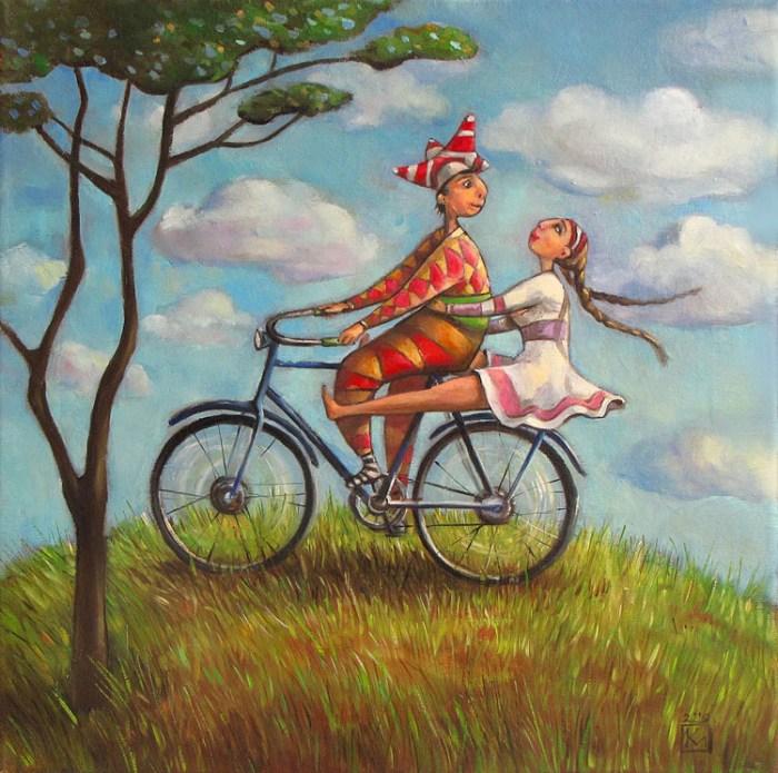 картина девушка и парень на велосипеде