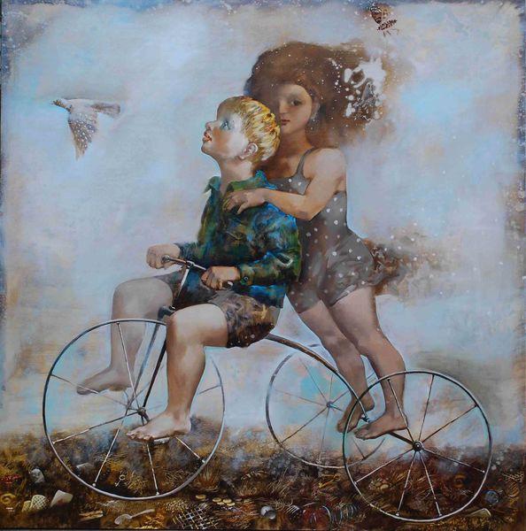 дети велосипед живопись