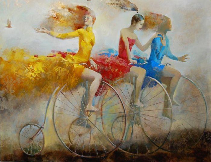 девушки на велосипедах живопись