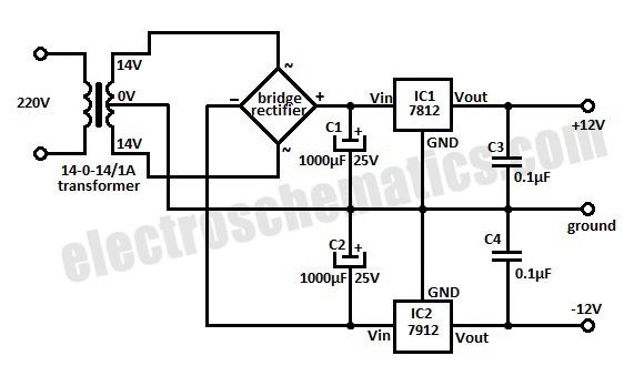 12 Volt Symmetric Power Supply Circuit
