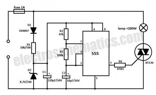 220V Flashing Lamp Circuit With 555