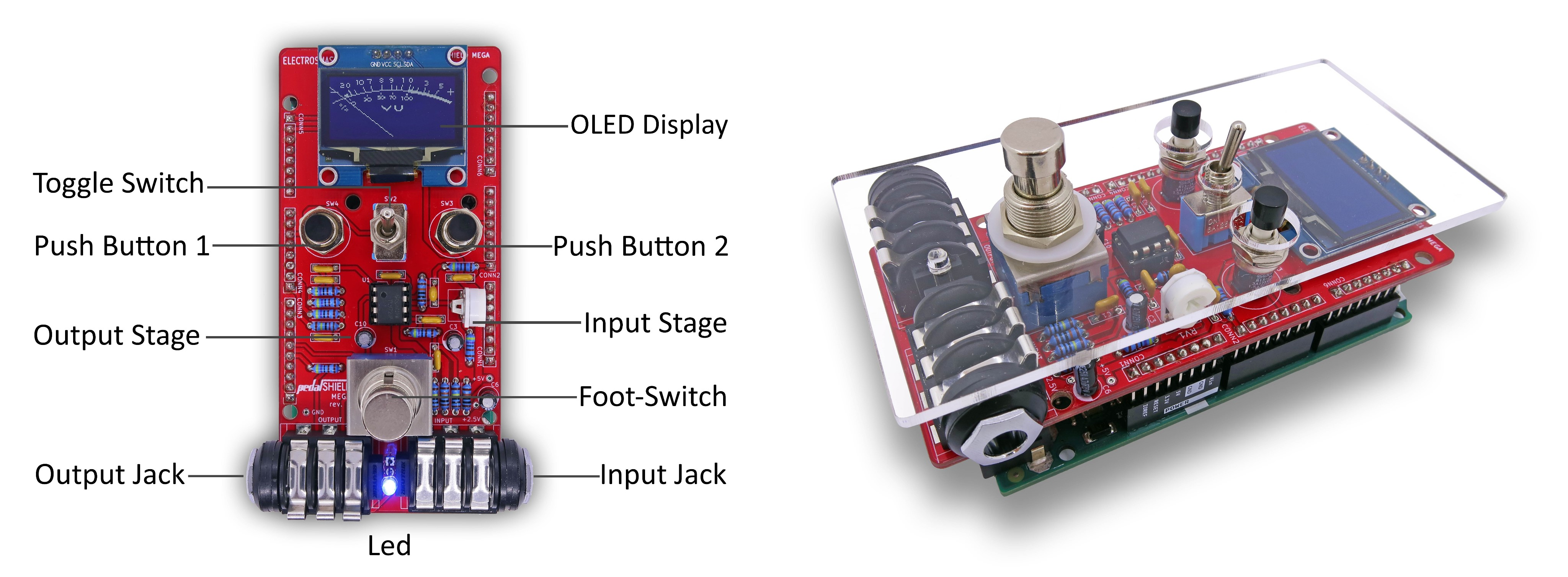 PedalSHIELD MEGA Arduino Guitar Pedal
