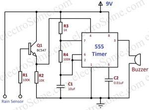 Rain Alarm using 555 Timer  Hobby Circuit
