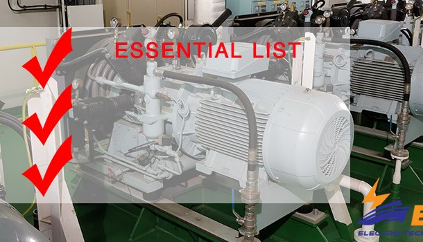 Essential list when working with vessel electrical equipment