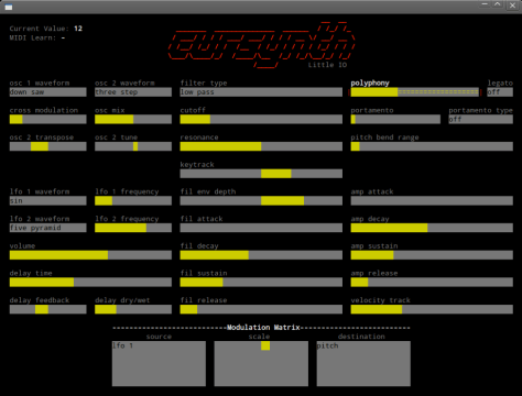 Cursynth screen shot