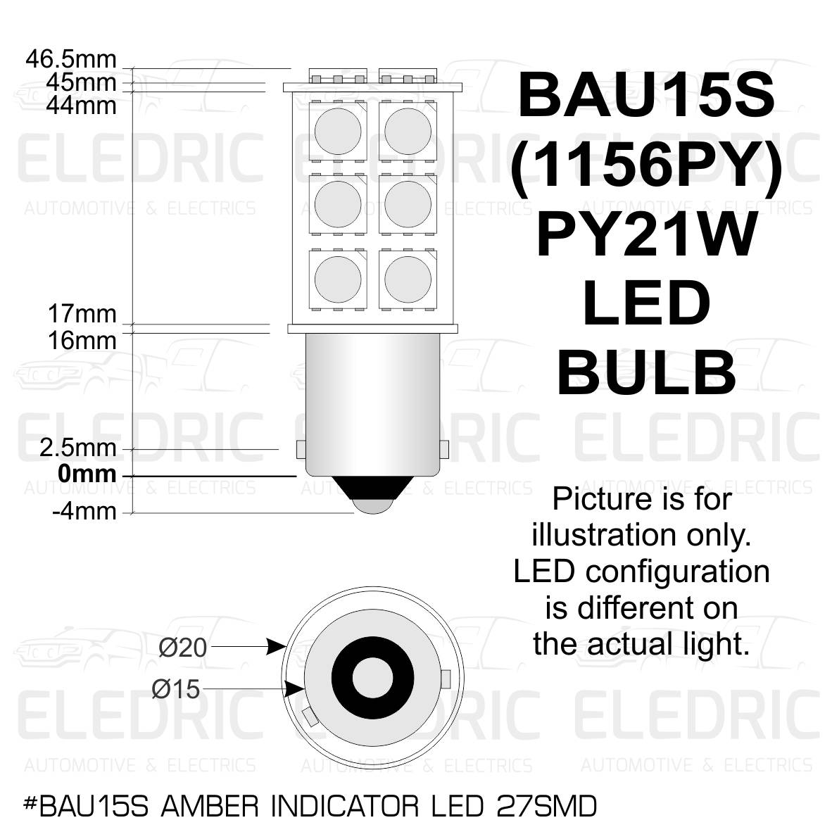 E Led Bau15s Py Py21w Led 27smd Amber Indicator 01