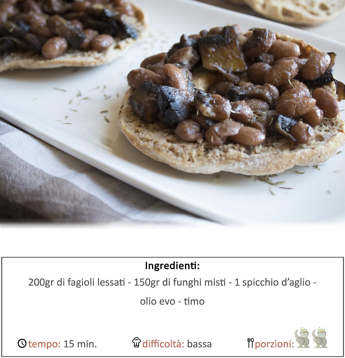 Friselle con fagioli e funghi