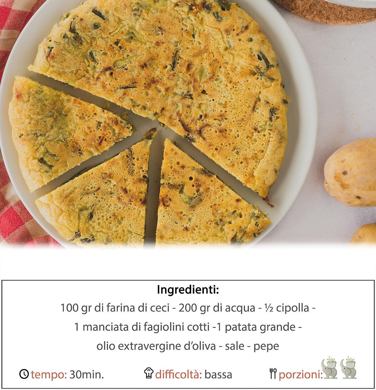 Farifrittata con patate cipolle e fagiolini