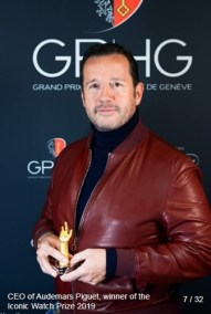 François-Henry Bennahmias (CEO of Audemars Piguet), winner of the Iconic Watch Prize 2019