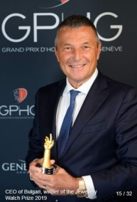 Jean-Christophe Babin (Group CEO at Bulgari) winner of the jewelry watch prize 2019