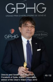 Akio Naito (Director, Senior Executive Vice President SEIKO WATCH CORPORATION), winner of the diver's watch prize 2019