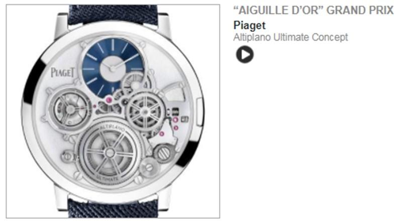 GPHG - Grand Prix de l Horlogerie de Geneve - Palmares 2020 4 Aiguille or - PIAGET - Altiplano Ultimate Concept